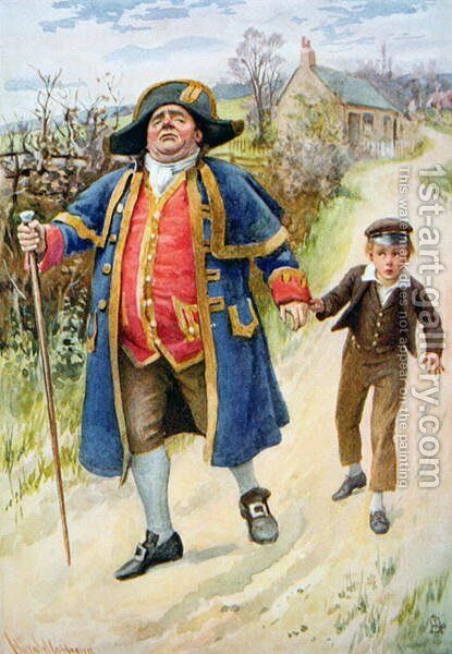 Mr Bumble and Oliver Twist, 1924 by Harold Copping - Reproduction Oil Painting