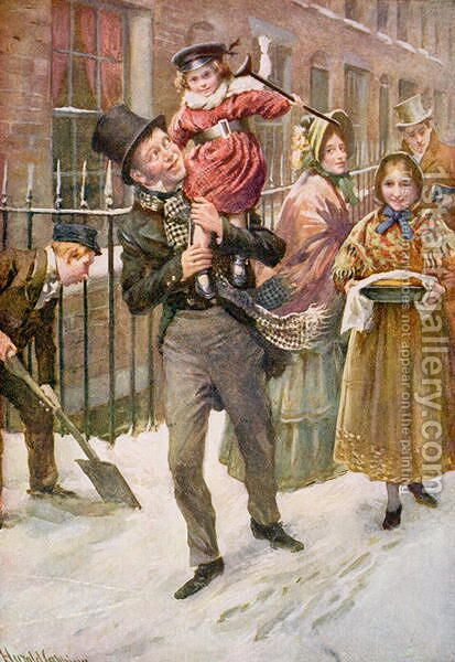 Bob Cratchit and Tiny Tim by Harold Copping - Reproduction Oil Painting