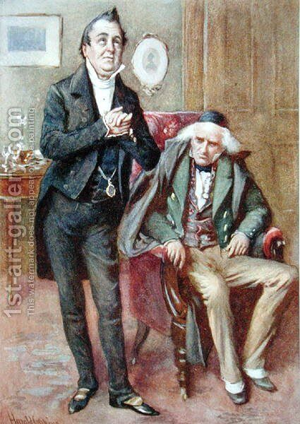 Mr Pecksniff and Old Martin Chuzzlewit, 1924 by Harold Copping - Reproduction Oil Painting