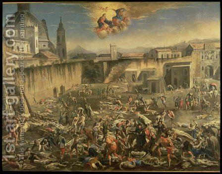 The Marketplace in Naples During the Plague of 1656 (2) by Carlo Coppola - Reproduction Oil Painting
