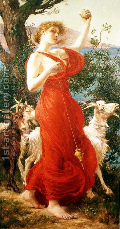 The Goat Girl by Edith Ridley Corbet - Reproduction Oil Painting