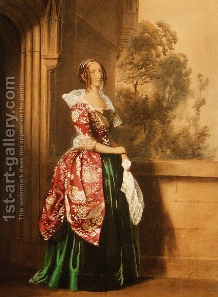A Lady in her Costume Worn at the Eglington Tournament, 1839 by Edward Henry Corbould - Reproduction Oil Painting