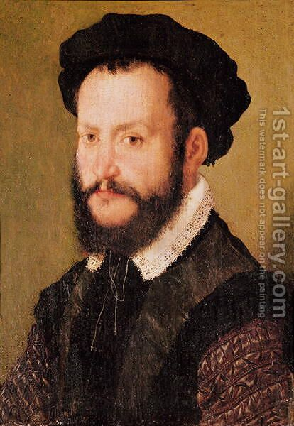 Portrait of a Man with Brown Hair, c.1560 by Corneille De Lyon - Reproduction Oil Painting