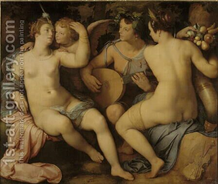 Venus, Bacchus and Ceres, 1614 by Cornelis Cornelisz Van Haarlem - Reproduction Oil Painting