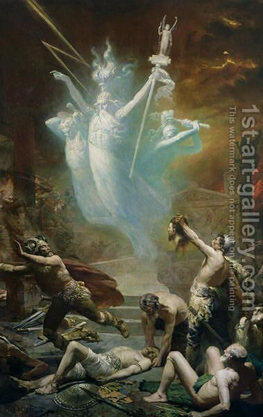The Taking of the Temple at Delphi by the Gauls, 1885 by Alphonse Cornet - Reproduction Oil Painting