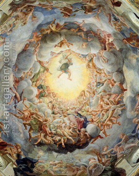 Assumption of the Virgin, from the ceiling of the dome, 1526-30 by Correggio (Antonio Allegri) - Reproduction Oil Painting