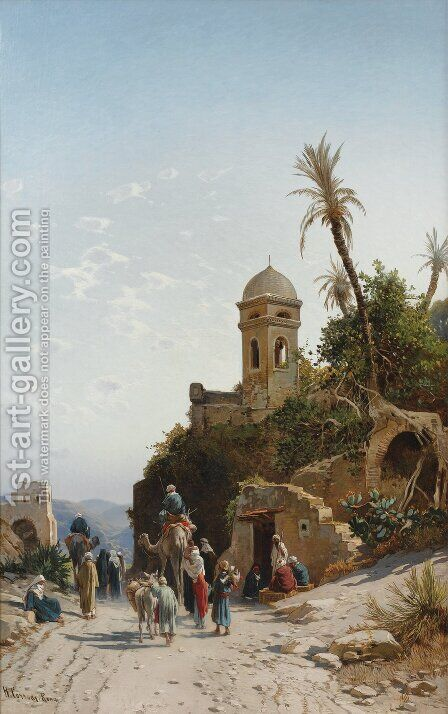 The Departing Caravan, Bethanin, c.1880 by Hermann David Solomon Corrodi - Reproduction Oil Painting