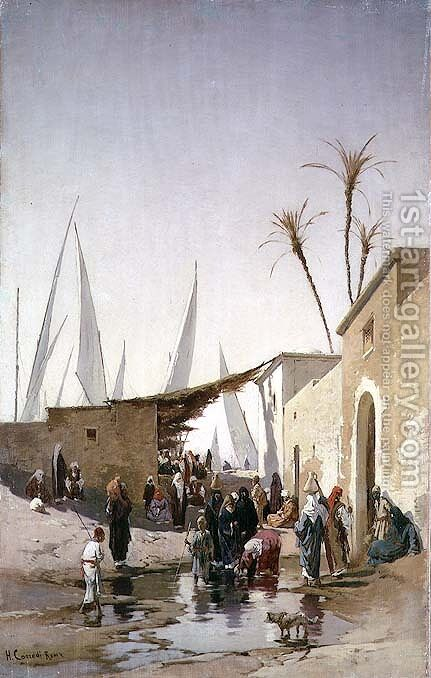 A Village by the Nile by Hermann David Solomon Corrodi - Reproduction Oil Painting