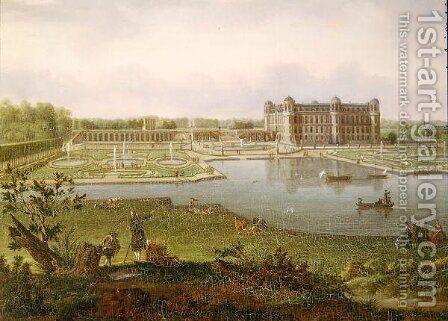 Chantilly in 1781, View from Vertugadin (detail) by Hendrik Frans de Cort - Reproduction Oil Painting