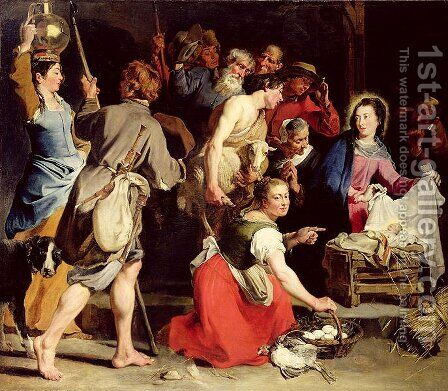 The Adoration of the Shepherds, after 162 by Jan Cossiers - Reproduction Oil Painting