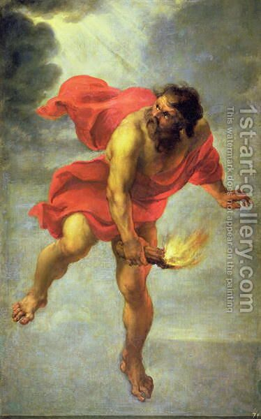 Prometheus carrying fire by Jan Cossiers - Reproduction Oil Painting