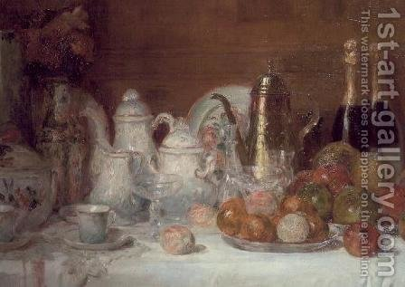 Still Life with Fruit and Champagne Bottles by Charles Couche - Reproduction Oil Painting