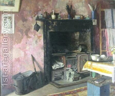 Interior with a fireplace by Arthur Vivian Couling - Reproduction Oil Painting