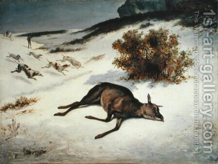 Hind Forced Down in the Snow, 1866 by (attr. to) Courbet, Gustave (1819-1877) - Reproduction Oil Painting