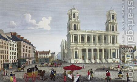 The Place Saint Sulpice, c.1815-20 by Henri  (after) Courvoisier-Voisin - Reproduction Oil Painting