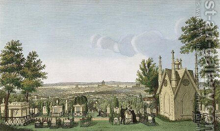 View of Pere-Lachaise Cemetery from the Gothic Chapel by Henri  (after) Courvoisier-Voisin - Reproduction Oil Painting
