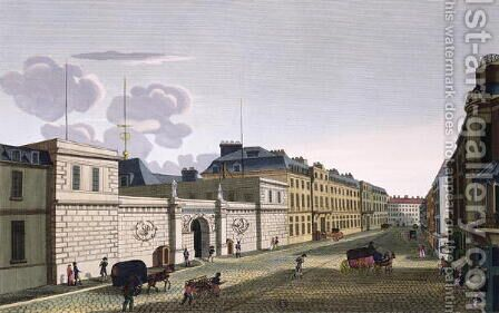 The Bank of France from Rue Croix-Petits-Champs by Henri  (after) Courvoisier-Voisin - Reproduction Oil Painting