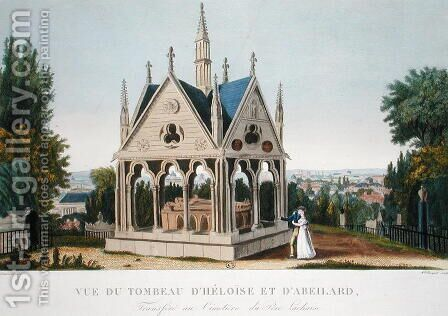 The Tomb of Heloise and Abelard in the Pere Lachaise Cemetery, 1815-20 by Henri  (after) Courvoisier-Voisin - Reproduction Oil Painting