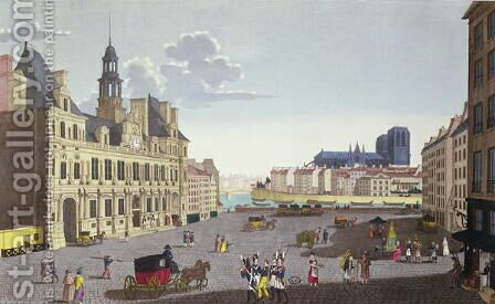 View of the Place de l'Hotel de Ville, as seen from the Rue du Mouton, 1815-20 by Henri  (after) Courvoisier-Voisin - Reproduction Oil Painting