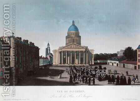 Funeral procession outside the Pantheon, c.1815-20 by Henri  (after) Courvoisier-Voisin - Reproduction Oil Painting
