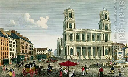 View of the Church of Saint-Sulpice, engraved by Anne Rosalie Filleul (nee Bouquet) (1752-94) by Henri  (after) Courvoisier-Voisin - Reproduction Oil Painting
