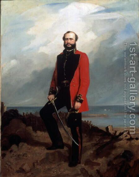 Major-General Charles Ashe Windham (1810-70) Coldstream Guards, standing in front of the Redan, Sebastopol, 1855 by Charles Couzens - Reproduction Oil Painting