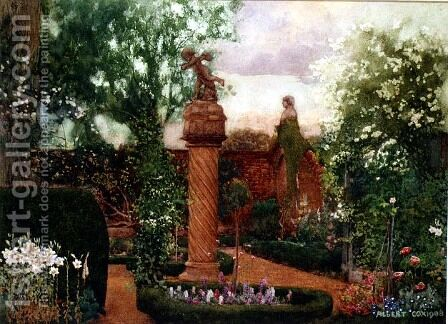 A Walled Garden with Statuary by A. Cox - Reproduction Oil Painting