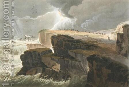 Plate from Book 10 Storm, View on the Coast of Hastings from A Treatise on Landscape Painting by David Cox - Reproduction Oil Painting