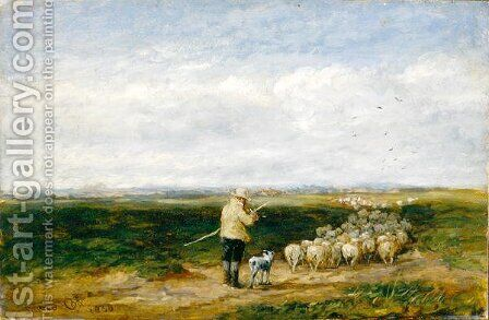 The Shepherd, Return of the Flock, 1850 by David Cox - Reproduction Oil Painting