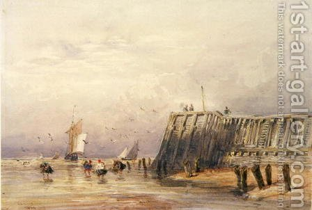 Seascape with Sailing Barges and Figures Wading Off-Shore, 1832 by David Cox - Reproduction Oil Painting
