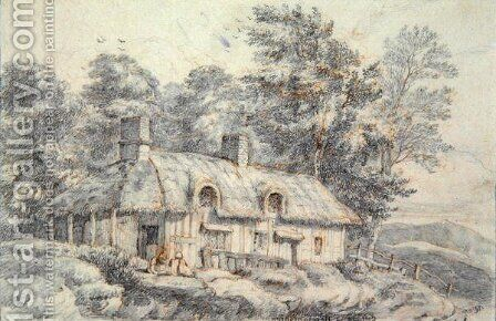 Cottage in Herefordshire, c.1820 by David Cox - Reproduction Oil Painting
