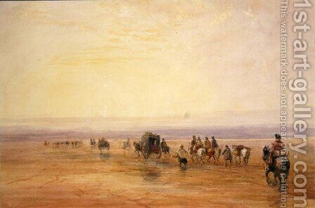 On Lancaster Sands, Sunset (Crossing Lancaster Sands) c.1835 by David Cox - Reproduction Oil Painting