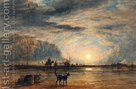Beach Scene - Sunrise, c.1820 by David Cox - Reproduction Oil Painting