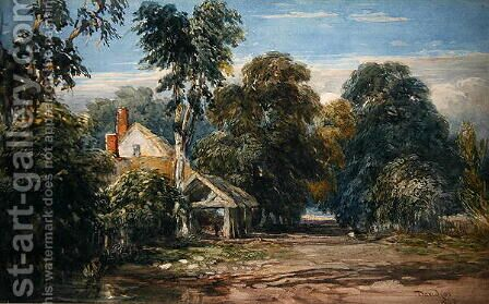A Cottage and Byre at the Edge of a Wood, 1845 by David Cox - Reproduction Oil Painting