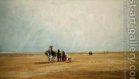 Figures with a Donkey on a French Beach by David Cox - Reproduction Oil Painting