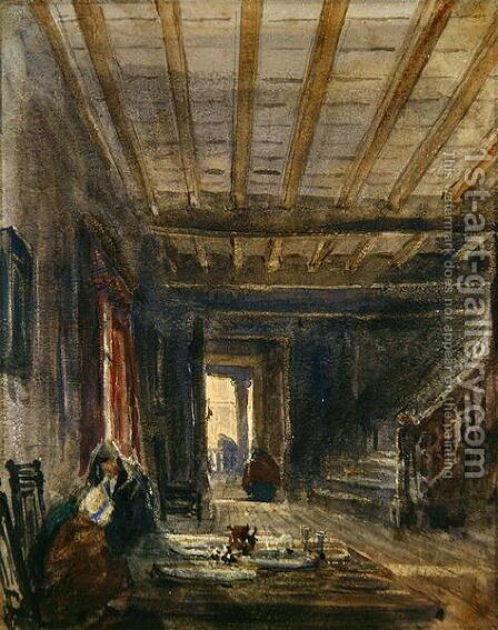 Interior with Figures at a Table by David Cox - Reproduction Oil Painting