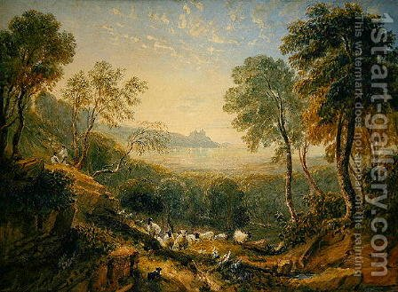 View of Harlech Castle by David Cox - Reproduction Oil Painting