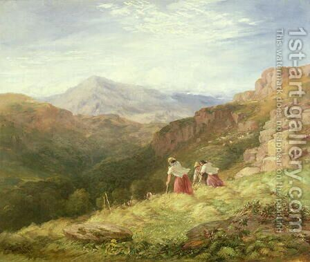 Haymaking  Snowdon 1847 by David Cox - Reproduction Oil Painting