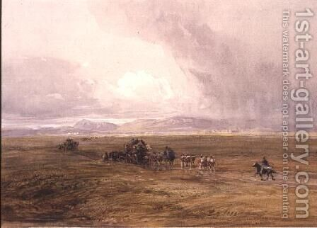 A Baggage Train Crossing a Plain by David Cox - Reproduction Oil Painting