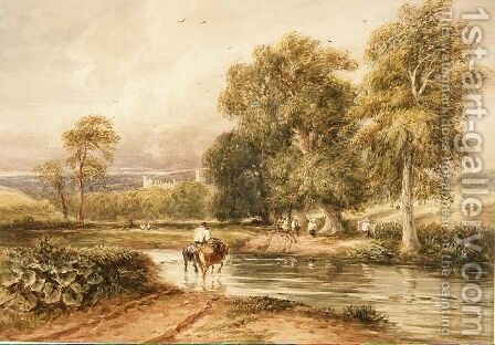 Returning from the Hayfield, with a distant view of Haddon Hall by David Cox - Reproduction Oil Painting