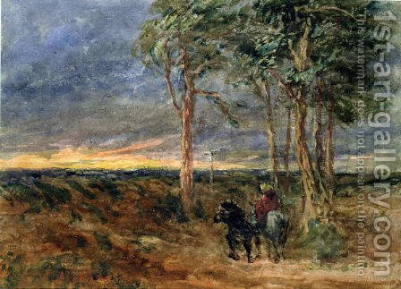 Travellers Approaching a Signpost on a Heath, 1851 by David Cox - Reproduction Oil Painting