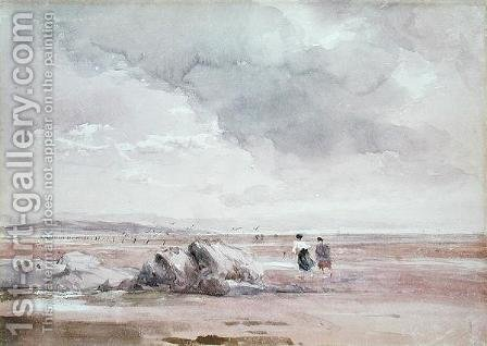 On Lancaster Sands, Low Tide c.1840-47 by David Cox - Reproduction Oil Painting