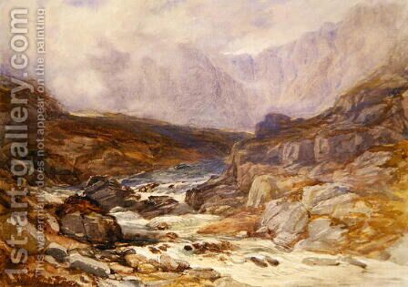 Welsh Mountain Scene with Torrential River by David Y. Cox - Reproduction Oil Painting