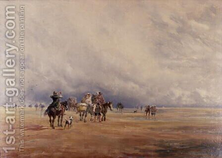 Lancaster Sands, Morecambe Bay (Treasures) 1842 by David Y. Cox - Reproduction Oil Painting