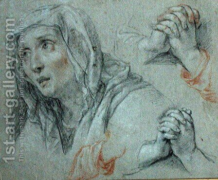 Studies for the Figure of the Virgin, c.1700 by Antoine Coypel - Reproduction Oil Painting