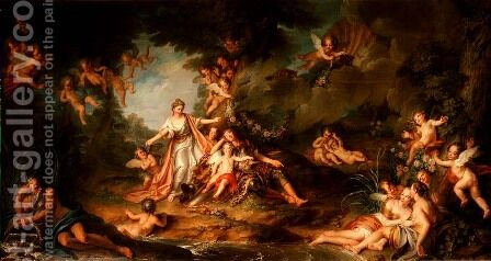 Armide Wishing to Hit Renaud, 1741 by Charles-Antoine Coypel - Reproduction Oil Painting