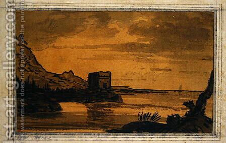 Classical Landscape by Alexander Cozens - Reproduction Oil Painting