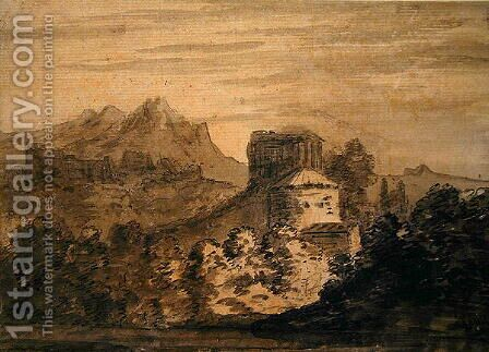 Mountainous Landscape with Italianate Buildings by Alexander Cozens - Reproduction Oil Painting