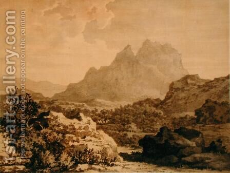Mountainous Landscape, c.1780 by Alexander Cozens - Reproduction Oil Painting