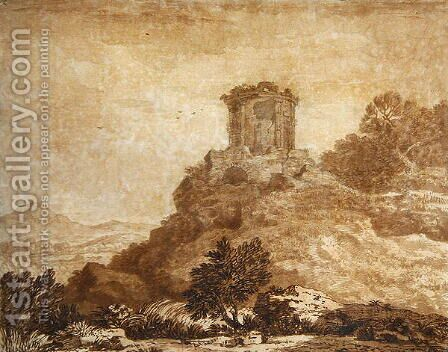 Landscape with a ruined temple, c.1756 by Alexander Cozens - Reproduction Oil Painting